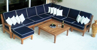 South Beach Teak Sectional Sofa 6pc Set