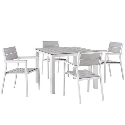 State Street 5 Piece Square Dining Set (White)