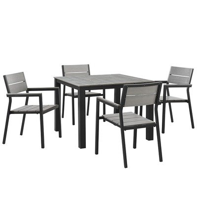 State Street 5 Piece Square Dining Set (Drk Brown)