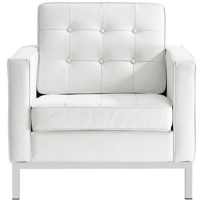 Printers Row Leather Armchair / Black or White
