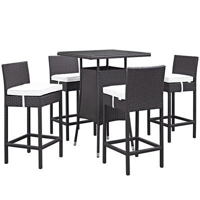 Hinsdale Patio Small Bar Table with Glass Top