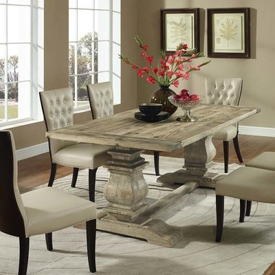 Pedestal Pine Dining Table