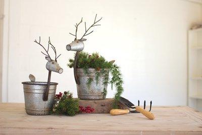 Metal Deer Planters | Set of 2