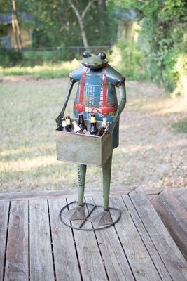 Recycled Metal Standing Frog with Removable Drink Tub