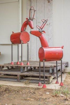 Recycled Red Metal Reindeer | Set of 2