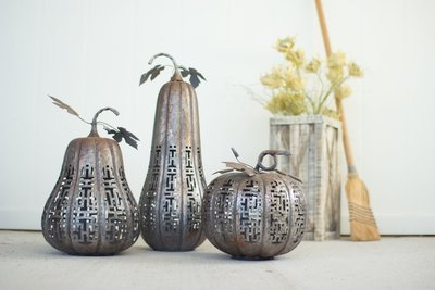 Rustic Galvanized Pumpkins / Set of 3