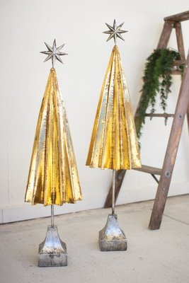 Folded Gold Metal Trees with Silver Star | Set of 2