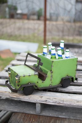 Recycled Iron Jeep Cooler / Planter