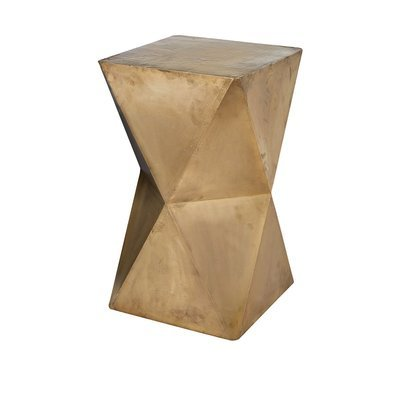 Faceted Stool with Brass Cladding - Gold