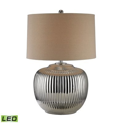 Ribbed Oversized Table Lamp   Silver
