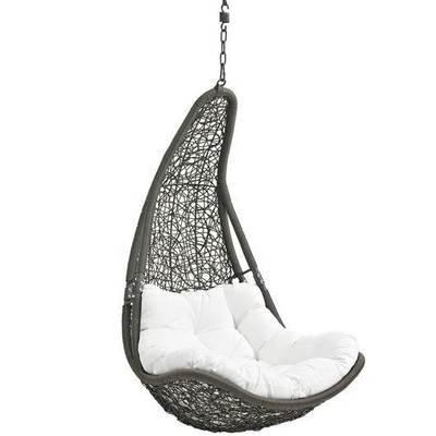 Hanging Resolve Swing Lounge Chair   Bronze   White Cushion