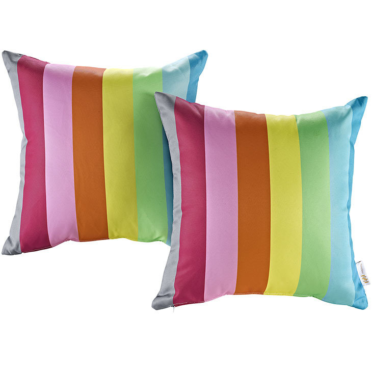 "Rainbow 2 Piece Outdoor Pillow Set 17"" x 17"""