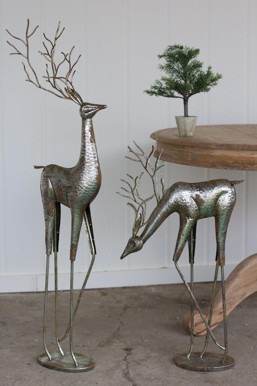 Metal Deer | Antique Silver | Set of 2