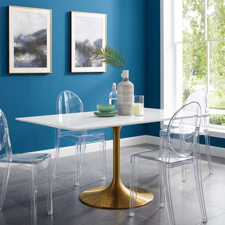 """Lila 60"""" Rectangle Dining Table with Gold Base"""