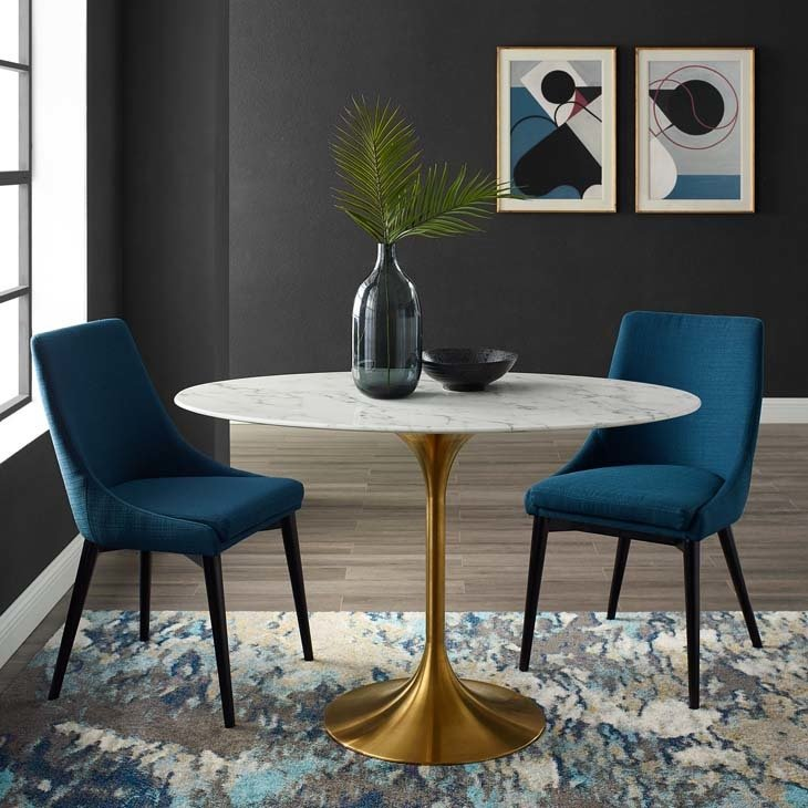 """Lila 48"""" Oval  Dining Table with Gold Base"""