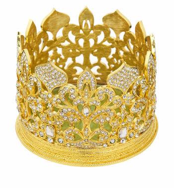 Gold Fleur De Lis Crown Candle Holder / Wine Coaster