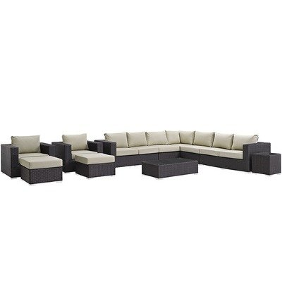 Soho Patio 11 Piece Sectional Set with Sunbrella® Cushion