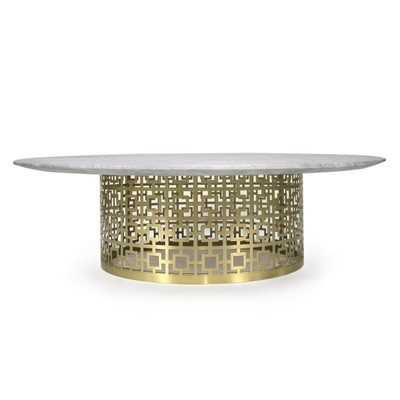 Nixon Marble and Brass Cocktail Table