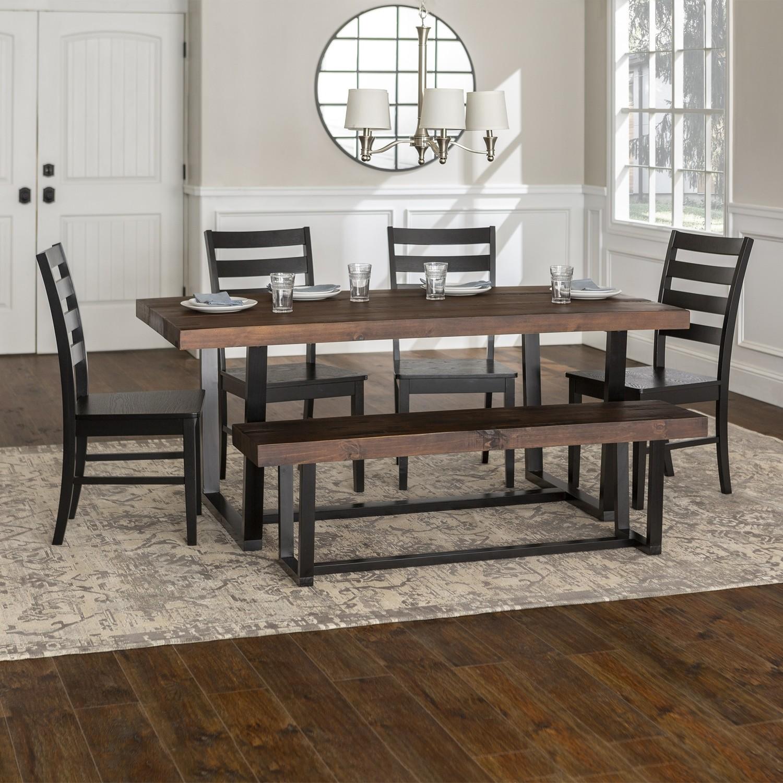 6-Piece Farmhouse Dining Set - Mahogany/Black