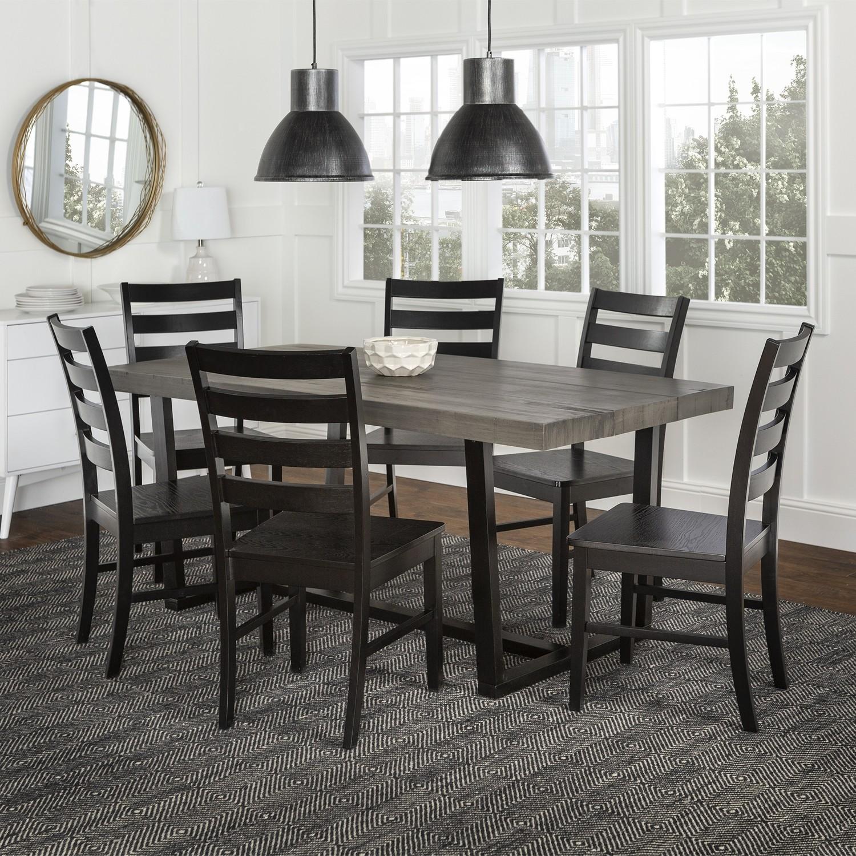 7-Piece Farmhouse Dining Set - Grey/Black