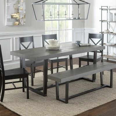 6-Piece Farmhouse X-Back Dining Set / Grey/Black