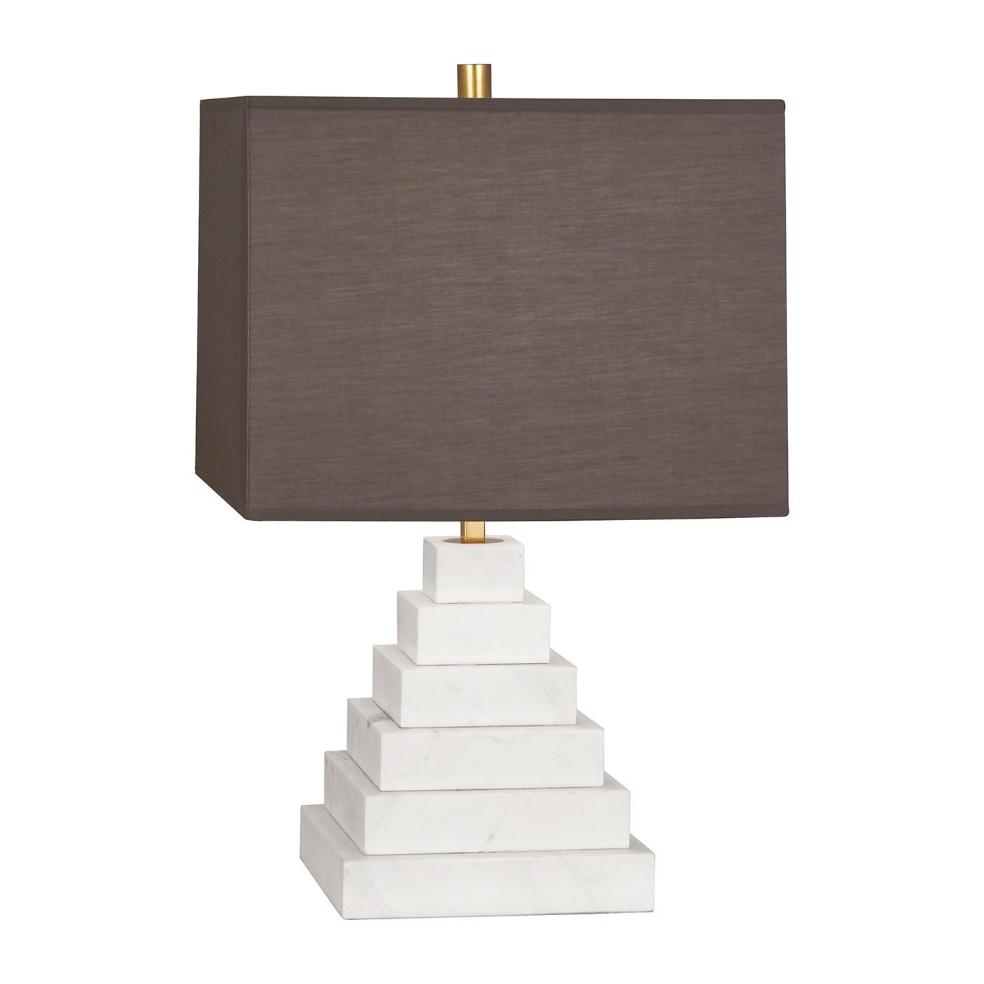 Canaan Pyramid White Marble/Gray Shade Table Lamp