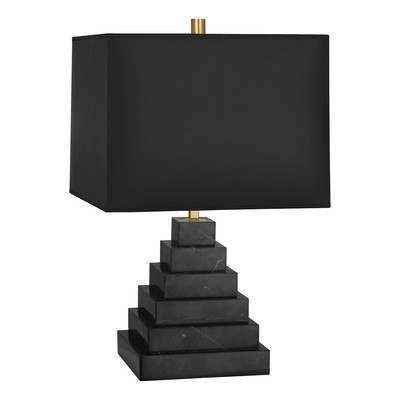 Canaan Pyramid Black Marble/Black Shade Table Lamp