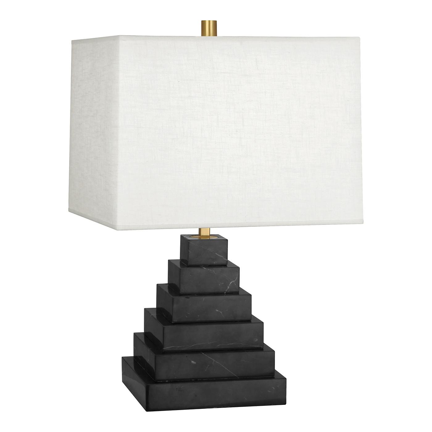 Canaan Pyramid Black Marble/White Shade Table Lamp