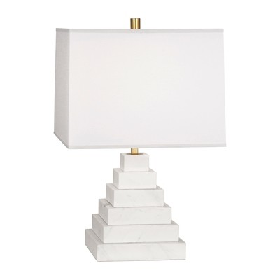 Canaan Pyramid White Marble/White Shade Table Lamp