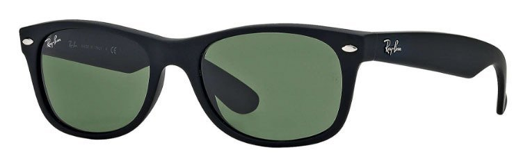 Ray Ban New Wayfarer Black Rubber Green Lense