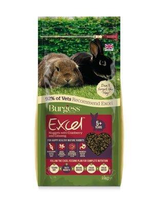 2KG BURGESS EXCEL RABBIT PELLETS WITH CRANBERRY AND GINGSENG FOR MATURE RABBITS