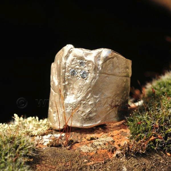 Ring in massief zilver m/3 zirkonium - Ralf De Burchgrave (België) - Maat57