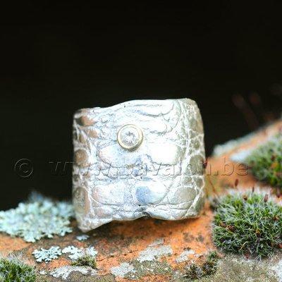 Ring in massief zilver met 1 briljant zirkonium in goud - Ralf De Burchgrave (België) - Maat59