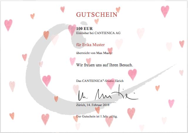 100-EURO-Gutschein, einlösbar bei CANTIENICA AG Zürich