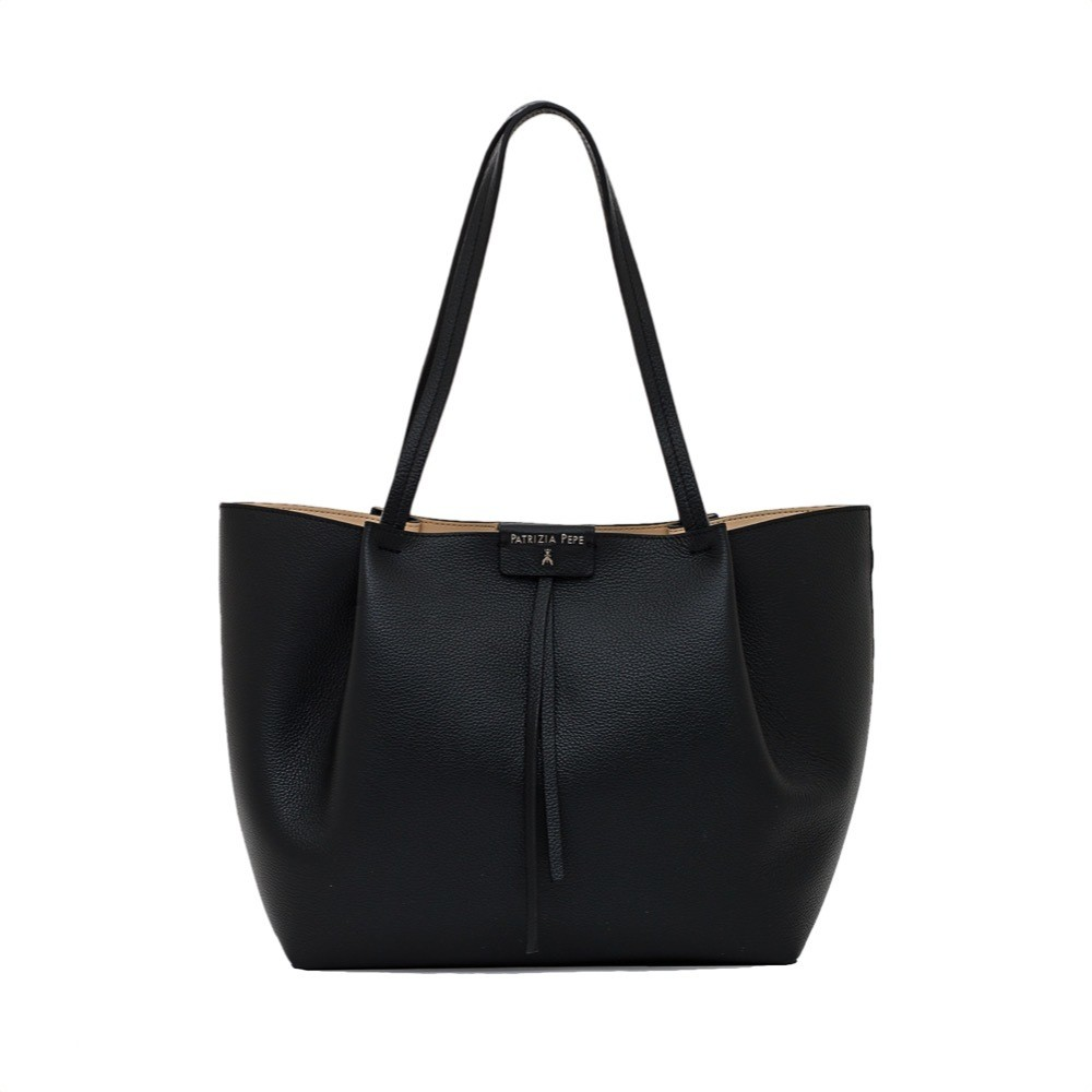 PATRIZIA PEPE - Borsa shopping in pelle - Black