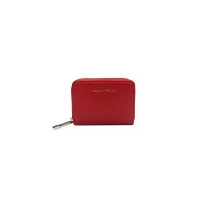 COCCINELLE - Metallic Saffiano Portacarte in pelle - Rosso