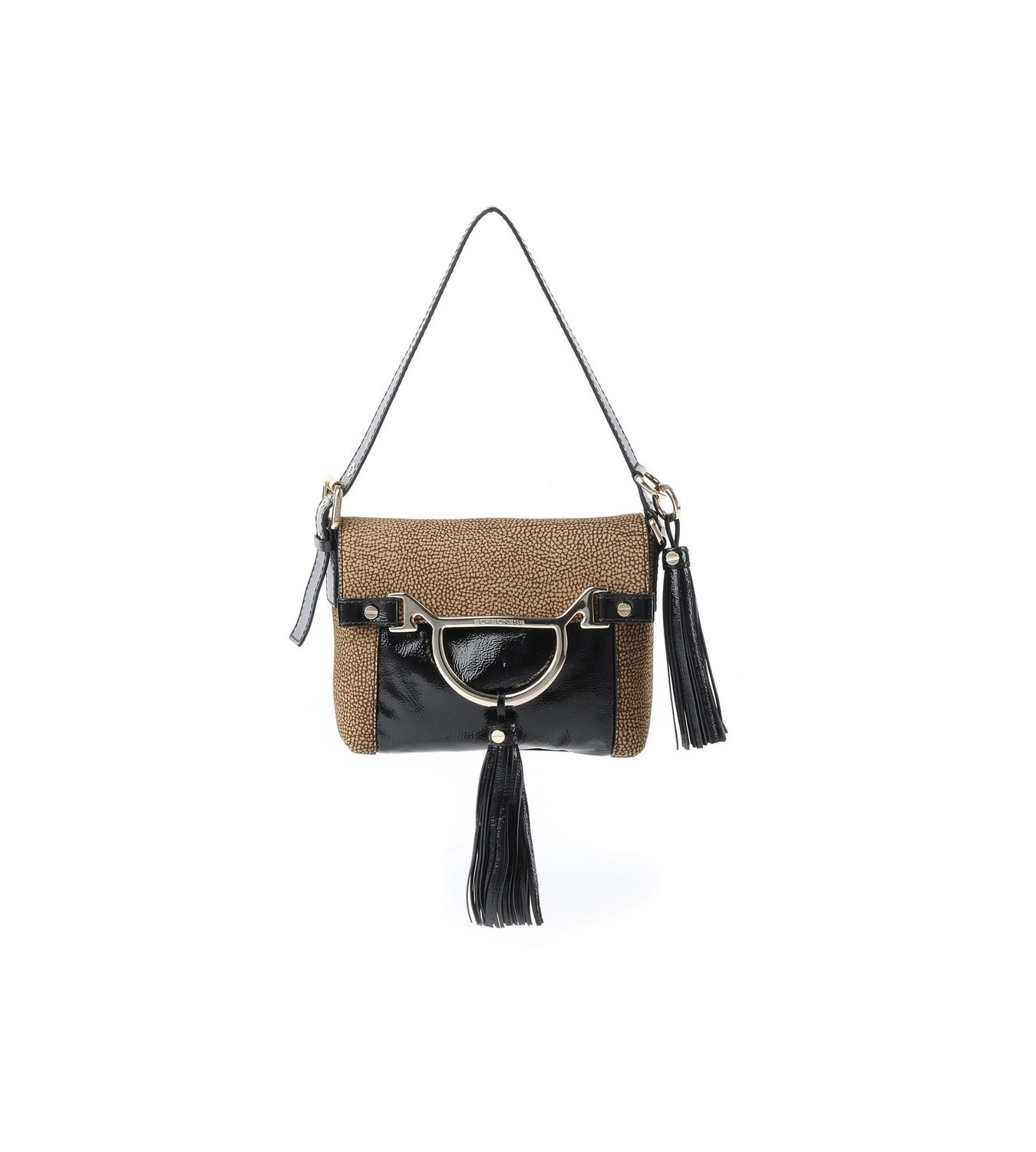 BORBONESE - Diva Bag Small in camoscio O.P. - O.P Naturale/Nero