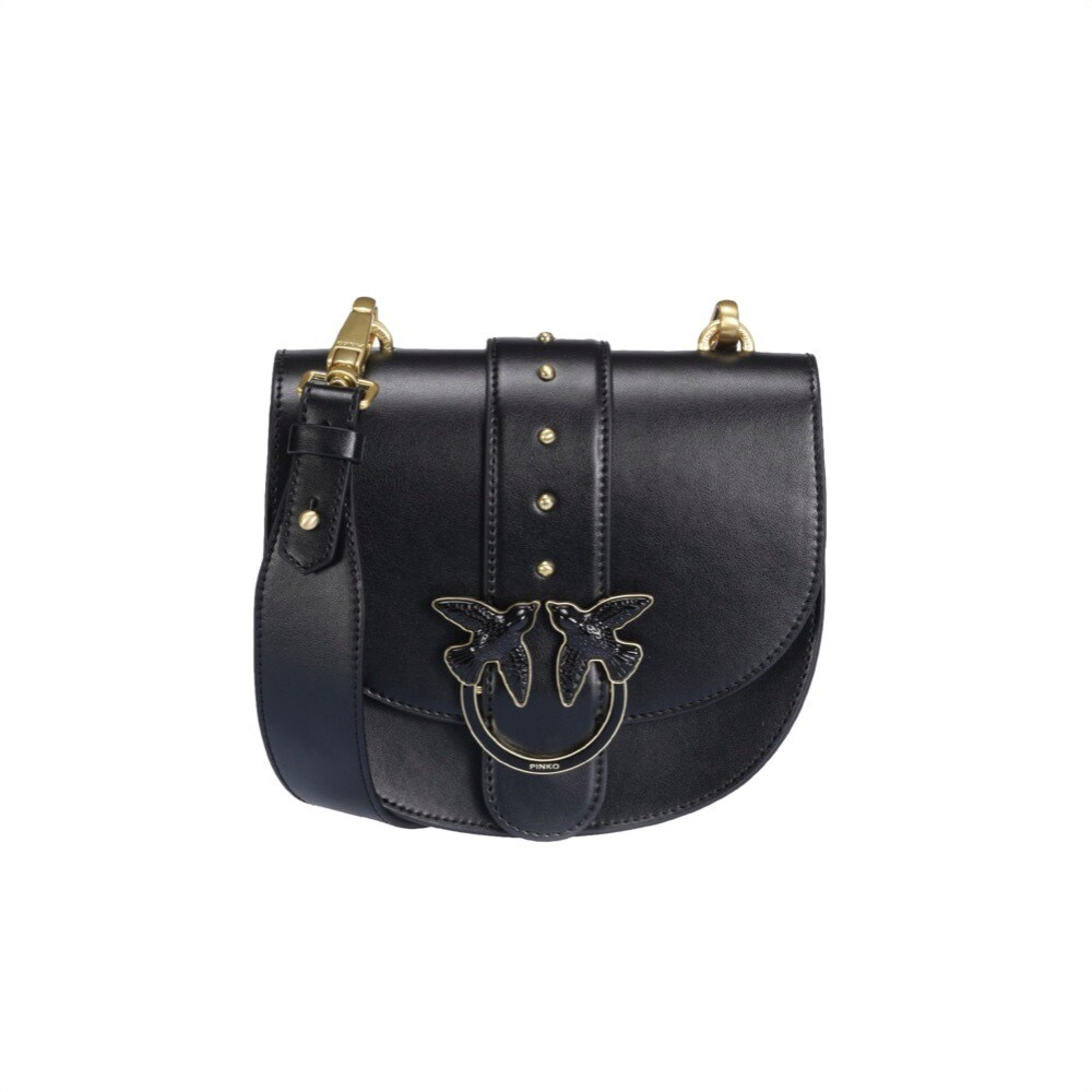 PINKO - Round Love Bag Simply in pelle - Black