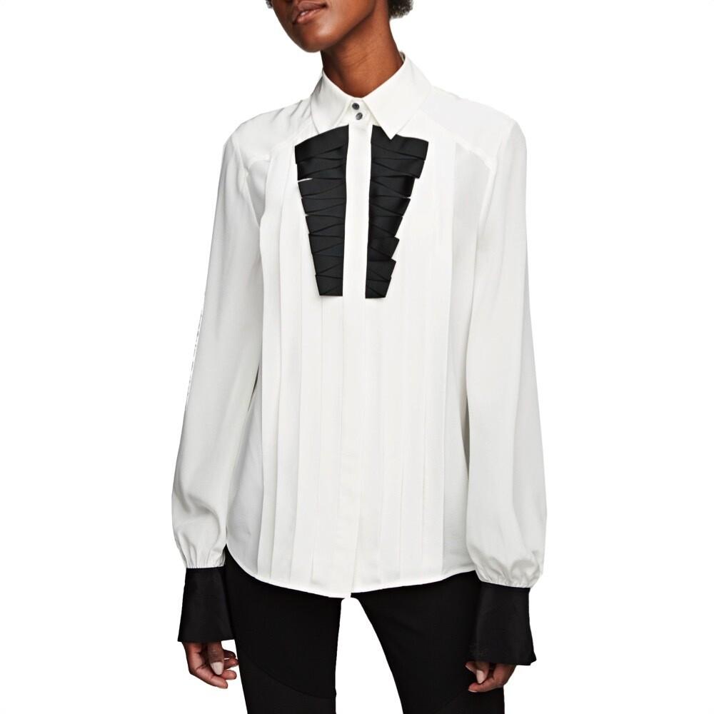 KARL LAGERFELD - Camicia in Seta con Plastron - Whisper White