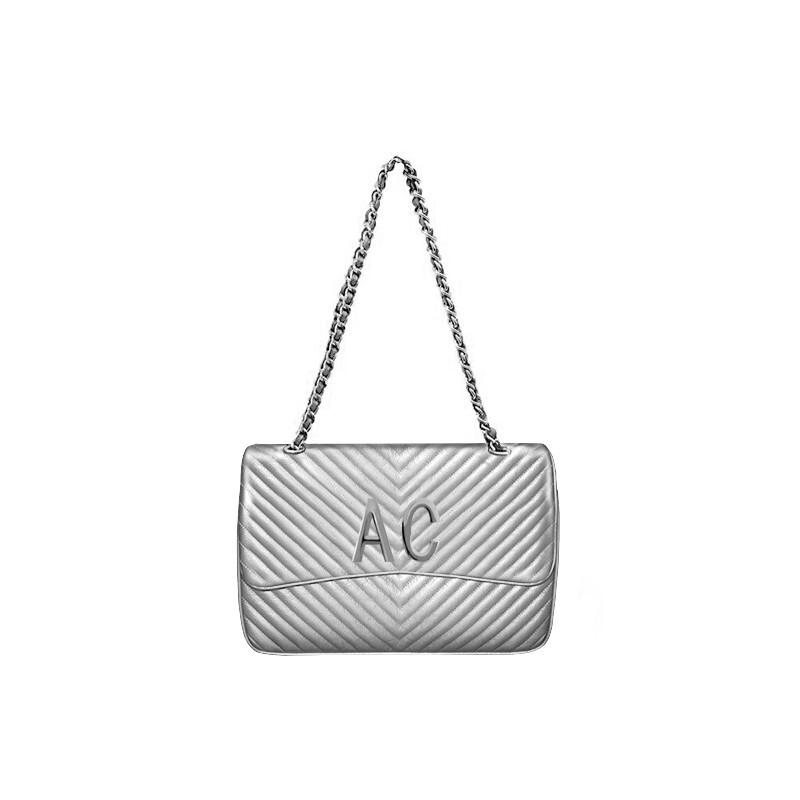 MIA BAG - Tracolla grande (misura CLASSICA) Personalizzabile - Argento con finiture ARGENTO