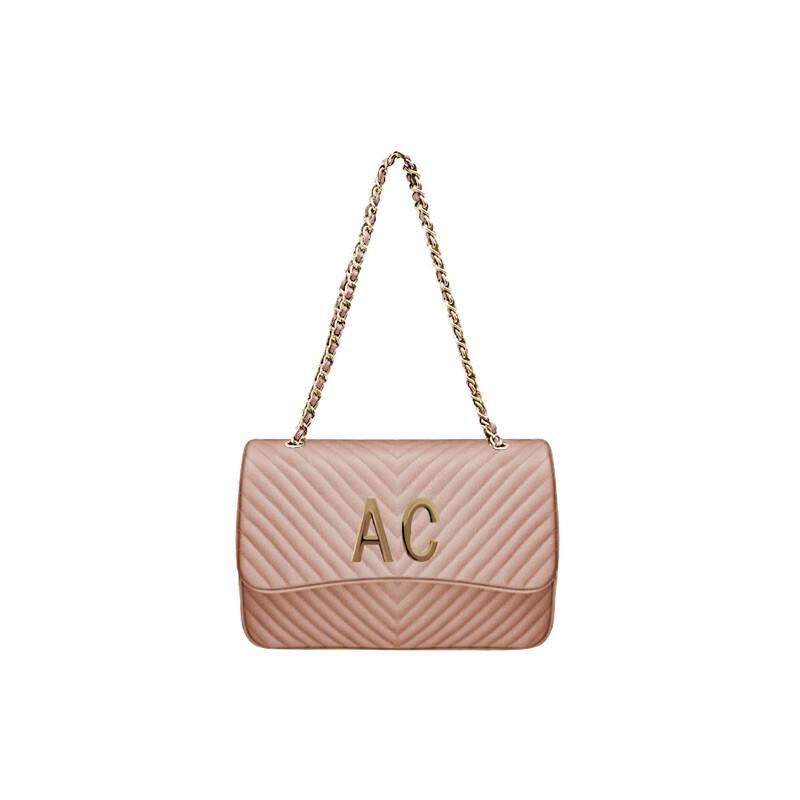 MIA BAG - Tracolla grande (misura CLASSICA) Personalizzabile - Cipria con finiture ORO