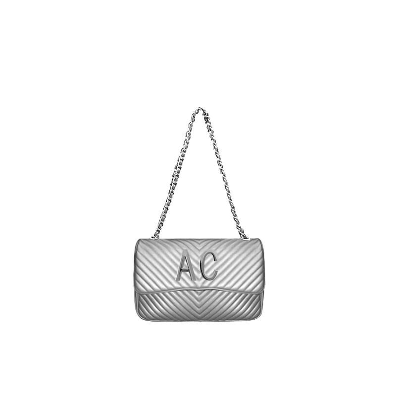 MIA BAG - Tracolla media Personalizzabile - Argento con finiture ARGENTO