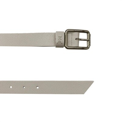 PATRIZIA PEPE - Cintura vita bassa in pelle martellata - Moon Grey