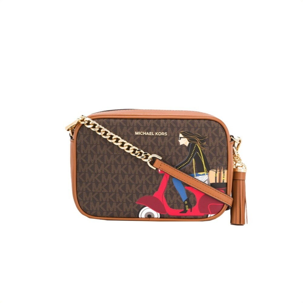 MICHAEL KORS - Tracolla Ginny Jet Set Girls in pelle - Brown Multi