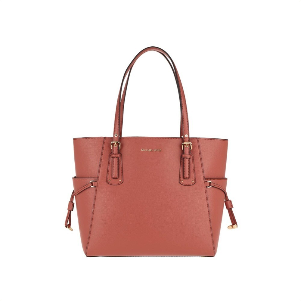 MICHAEL KORS - Voyager Small Leather Tote - Sunset Peach