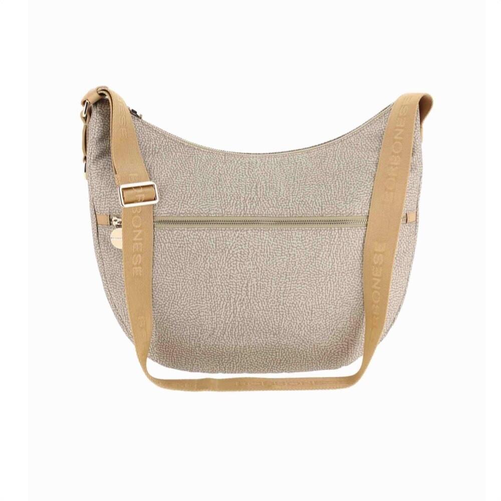 BORBONESE - Luna Bag Medium in Nylon Jet OP con tasca - Beige