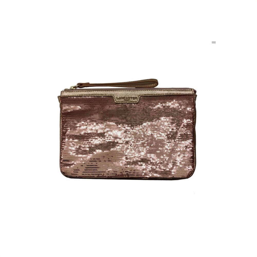 LANCASTER - Actual Shiny Sequil Pochette - Or Rose