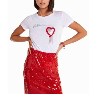 PATRIZIA PEPE - T-shirt manica corta girocollo - Bianco Ottico