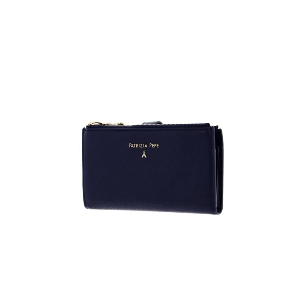 PATRIZIA PEPE - Portafoglio porta cellulare in pelle martellata - Dress Blue