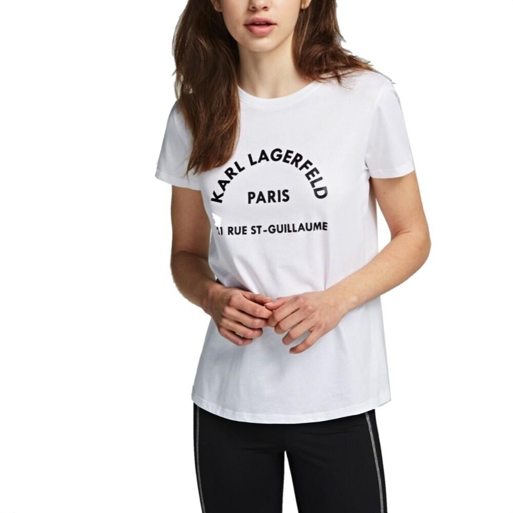 KARL LAGERFELD - T-shirt con Logo Rue Lagerfeld - White